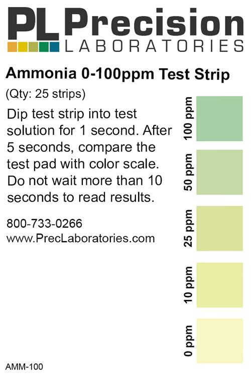 Low Level Ammonia Test Strip, 100ppm