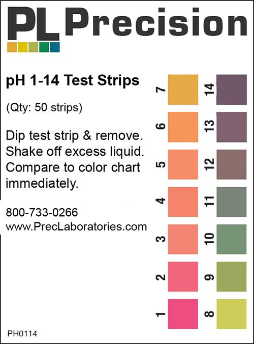 PH 1-14 Test Strips (Single Pad)